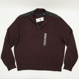 Perry Ellis 1/4 Zip Mock Neck Sweater Port 2XL